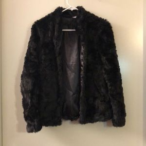 Black furry jacket from H&M